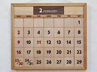 木のカレンダー